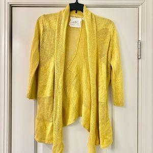 Angel of the North Mustard Linen Open Cardigan M
